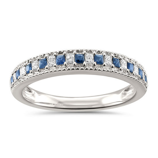 Womens 1/3 CT. T.W. Diamond & Genuine Blue Sapphire 14K Gold Wedding Band