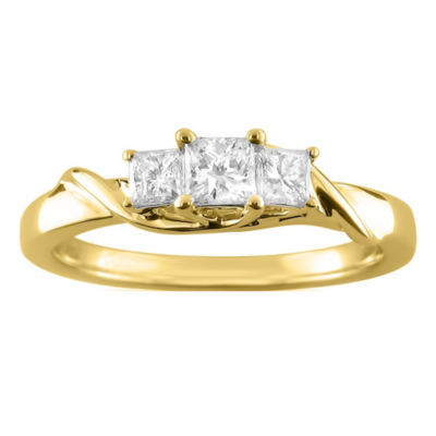 Love Lives Forever Womens 1/2 CT. T.W. White Diamond 14K Gold 3-Stone Engagement Ring