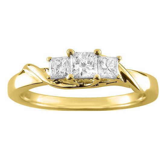 Love Lives Forever Womens 1/2 CT. T.W. Genuine White Diamond 14K Gold 3-Stone Engagement Ring