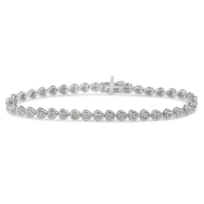 Womens 1 CT. T.W. White Diamond Sterling Silver Heart Tennis Bracelet