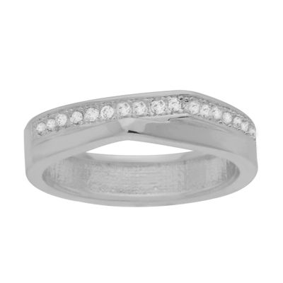 Sparkle Allure Sparkle Allure Plated Crystal Cocktail Ring Womens Clear Silver Over Brass Cocktail Ring