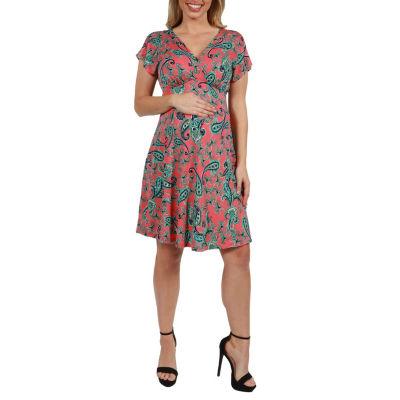 24Seven Comfort Apparel Allie Empire Waist Maternity Mini Dress