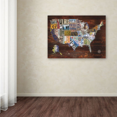 Trademark Fine Art Masters Fine Art USA License Plate Map on  Wood Giclee Canvas Art