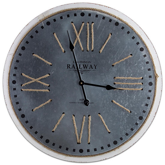 Railway Station Round Metal and Rope Wall Clock