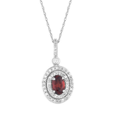 Womens 1/4 CT. T.W. Genuine Red Garnet 10K White Gold Pendant Necklace