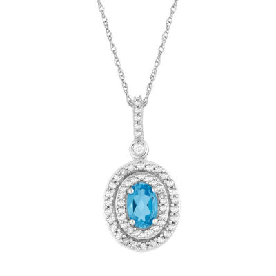 Womens 1/4 CT. T.W. Genuine Blue Topaz 10K White Gold Pendant Necklace