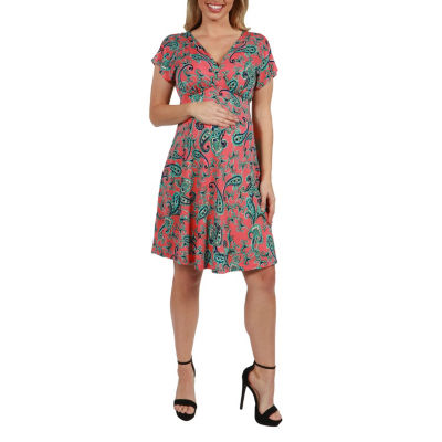 24Seven Comfort Apparel Allie Empire Waist Maternity Mini Dress - Plus