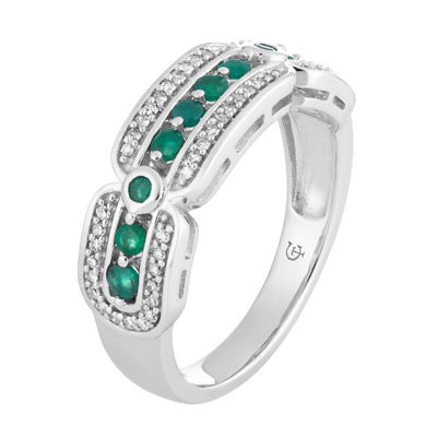 Womens 1/5 CT. T.W. Genuine Green Emerald 10K White Gold Cocktail Ring