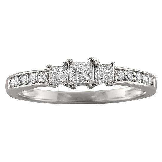 Love Lives Forever Womens 1/2 CT. T.W. Genuine White Diamond 14K White Gold 3-Stone Engagement Ring