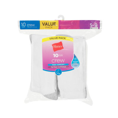 Hanes 10 Pair Crew Socks - Womens