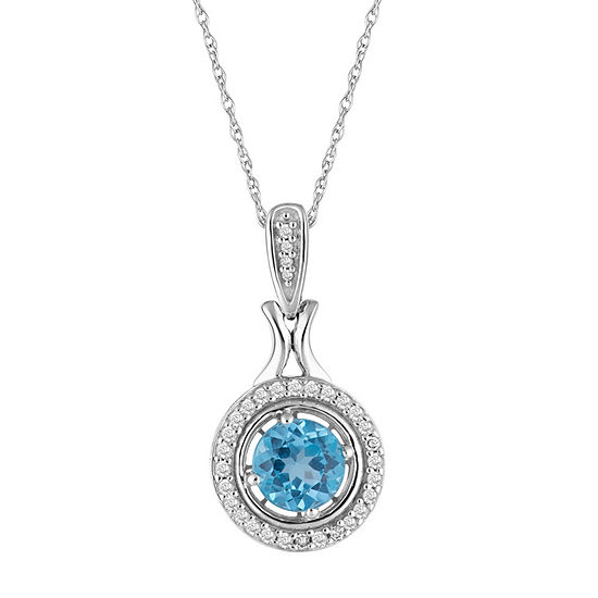 Womens 1/7 CT. T.W. Genuine Blue Topaz 10K White Gold Pendant Necklace