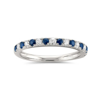Womens 1/2 CT. T.W. White Diamond & Genuine Blue Sapphire 14K White Gold Wedding Band