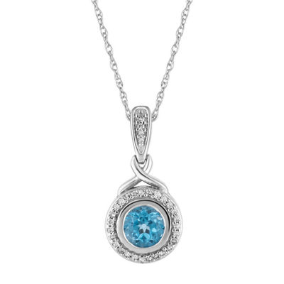Womens 1/8 CT. T.W. Genuine Blue Topaz 10K White Gold Pendant Necklace