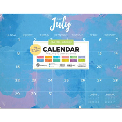 Tf Publishing July 2018 - June 2019 Watercolor Desktop Calendar