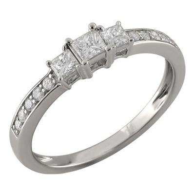 Love Lives Forever Womens 1/2 CT. T.W. Multi-Shape White Diamond 14K Gold 3-Stone Ring
