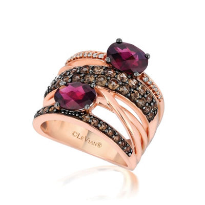 Grand Sample Sale™ By Le Vian® Raspberry Rhodolite® 1/10 CT. T.W. Chocolate Quartz® & Vanilla Diamonds® 14K Strawberry Gold® Ring