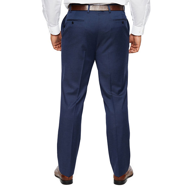Shaquille O'Neal XLG - Big and Tall Blue Solid Stretch Suit Pants