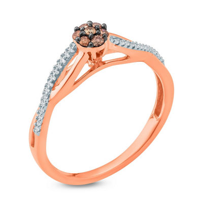 Womens 1/6 CT. T.W. Multi Color Diamond 10K Gold Promise Ring