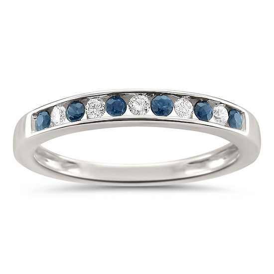 Womens 1 4 Ct Tw Diamond Genuine Blue Sapphire 18k Gold Wedding Band
