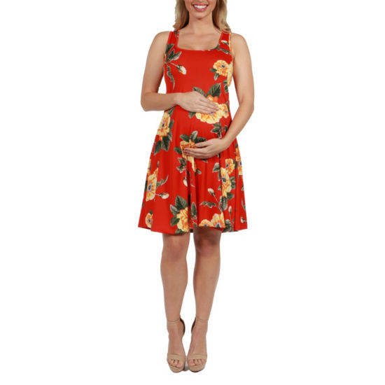 24Seven Comfort Apparel Alicia Floral Maternity Mini Dress - Plus