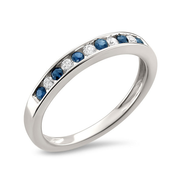 Womens 1/4 CT. T.W. Diamond & Genuine Blue Sapphire 18K Gold Wedding Band