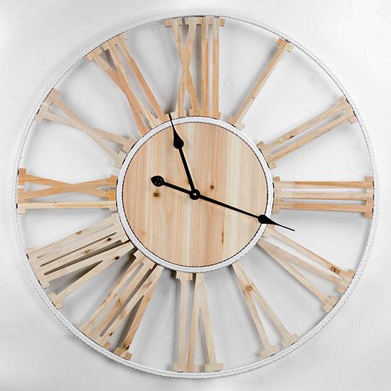 Wood Metal Round Roman Numeral Wall Clock