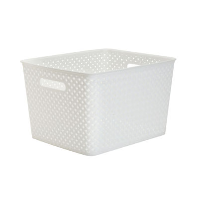 Resin Wicker Storage Tote White-Large 13.75 X 11.50 X 8.75- Basket Weave