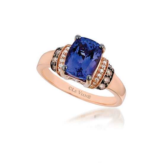 LIMITED QUANTITIES Le Vian Grand Sample Sale™ Ring featuring Blueberry Tanzanite®, Chocolate Diamonds®, Vanilla Diamonds® set in 14K Strawberry Gold®