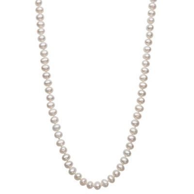 Womens 5MM White Cultured Freshwater Pearl 14K Gold Strand Necklace