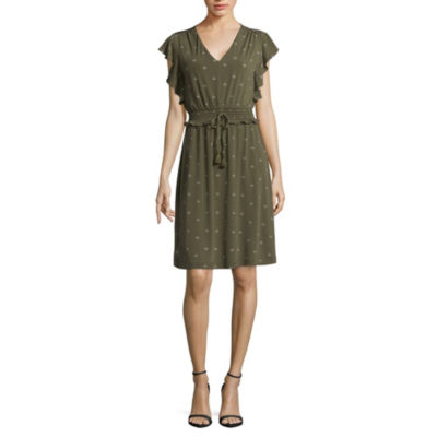 Liz Claiborne Shirred Sleeveless Dress - Tall