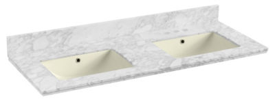47.5-in. W 18.25-in. D Quartz Top With BacksplashIn Bianca Carara Color For 3H4-in. Faucet - Biscuit UM Sink
