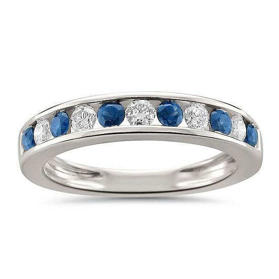 Womens 1/2 CT. T.W. Diamond & Genuine Blue Sapphire 18K Gold Wedding Band
