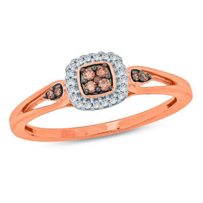 Womens 1/6 CT. T.W. Round Multi Color Diamond 10K Gold Promise Ring