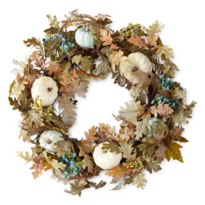 JCPenney Home Teal And White Pumpkin Wreath