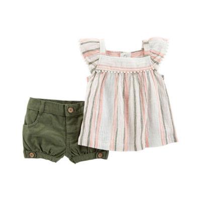 Carter's 2pc Stripe Short Set - Baby Girl