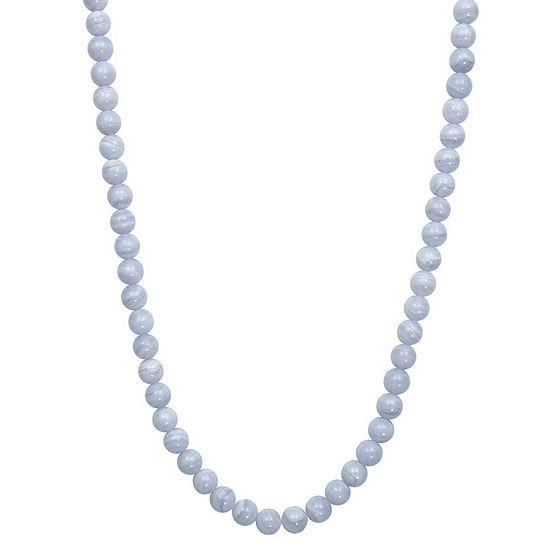 Womens Blue Agate Sterling Silver Round Strand Necklace