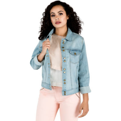 Light Wash 12-button Stretch Denim Western Jackets Waistband Adjusable
