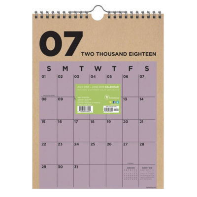 Tf Publishing July 2018 - June 2019 Kraft Monthly Wall Calendar