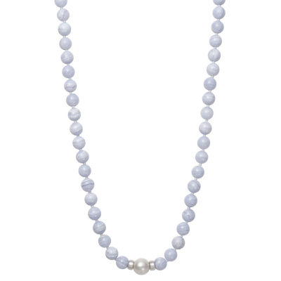 Womens 9.5M Genuine Blue Agate Cultured Freshwater Pearl Sterling Silver Round Strand Necklace