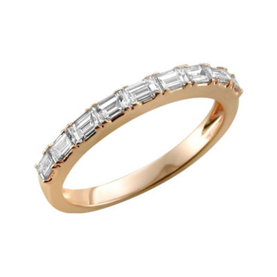 Womens 2.5mm 1/2 CT. T.W. White Diamond 14K Rose Gold Wedding Band