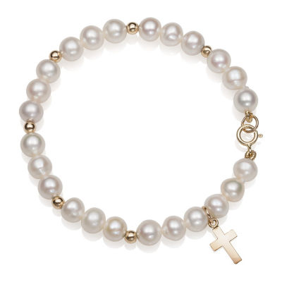 White Cultured Freshwater Pearl 14K Gold Cross Charm Bracelet
