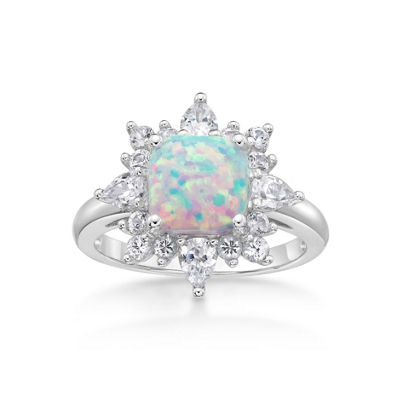 Womens Lab Created White Opal Cocktail Ring