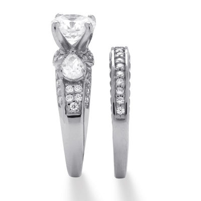 Diamonart Womens 3 1/2 CT. T.W White Cubic Zirconia Platinum Over Silver Bridal Set
