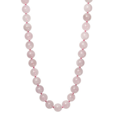 Womens Pink Quartz Sterling Silver Round Strand Necklace