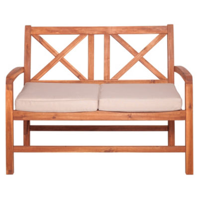 Acacia Wood X-Back Patio Love Seat with Cushions