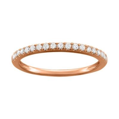 Womens 1/4 CT. T.W. White Diamond 14K Rose Gold Wedding Band