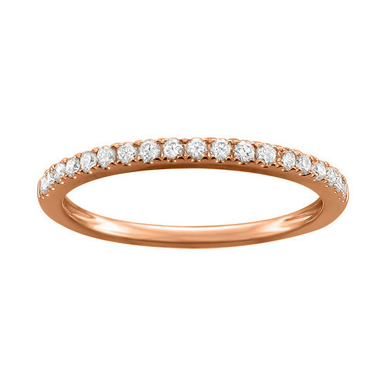 Womens 1/4 CT. T.W. Genuine White Diamond 14K Rose Gold Wedding Band