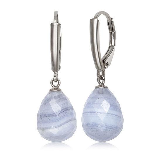 Blue Agate Sterling Silver Drop Earrings
