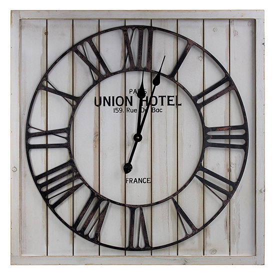 Union Hotel Paris White Wood and Metal Wall Clock