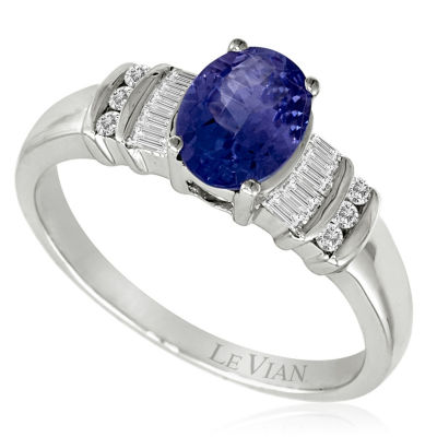 Grand Sample Sale™ By Le Vian® Blueberry Tanzanite® & 1/5 CT. T.W. Vanilla Diamonds® 14K Vanilla Gold® Ring